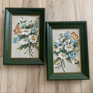 Set of 2 vintage hand painted framed pictures